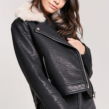 Faux Fur Collar Moto Jacket