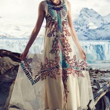 Embroidered Glacia Gown by Anthropologie Ivory