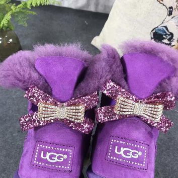 UGG Hot style wool queen diamond bow ultra female beauty with thick warm ugg boots two style Purple one bowknot