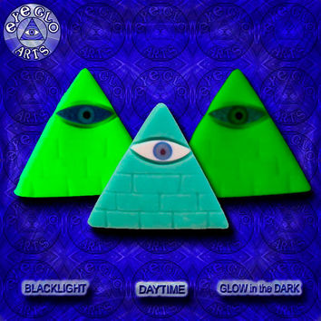 Halloween Special Neon Aqua Blue Glow in the Dark Illuminati Pyramid Pendant EyeGloArts Handmade Blacklight jewelry UV wearable Art
