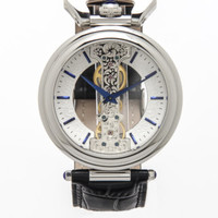 Emperor Spire Mechanical Skeleton Leather Strap Watch