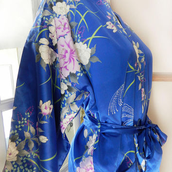 1960's Asian Blue Satin Floral kimono / Robe, Japan Vintage Silk / Satin Clothing, One Size Fits Most