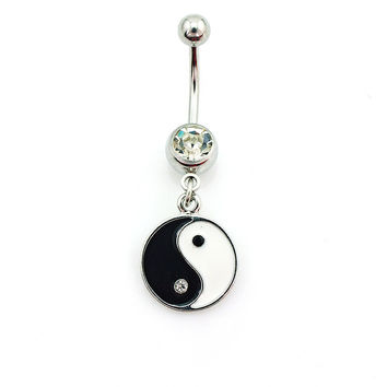New Charming Dangle Crystal Navel Belly Ring Bling Barbell Button Ring Piercing Body Jewelry = 4804932292