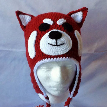 Red Panda Hat. Crocheted Red Panda Hat For Adults.