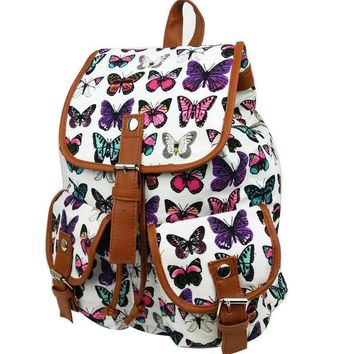 Vintage Women Girls Travel Rucksack Butterfly School Bag Satchel Bookbags Backpack Casual Bags