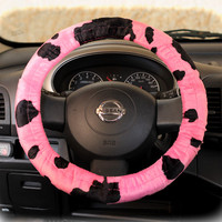 by (CoverWheel) Steering wheel cover cheetah wheel car accessories Pink Cow