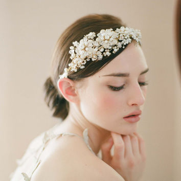 Bridal headpiece, tiara, headband - Golden flower and rhinestone headpiece - Style 240 - Made to Order