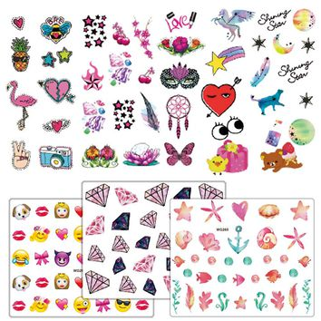 1 PCS Cartoon Cute Animal Unicorn Fruit Cake Emoji Water Transfer Nail Art Sticker Decal Slider Manicure Wrap Tool JIWG246-265