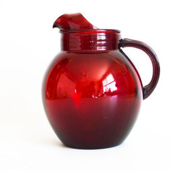 Vintage Anchor Hocking Ruby Red Glass Pitcher, Large 1950s Water Carafe Round Ball Jug Juice Container