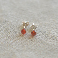sardonyx stud earring,sterling silver earring  20G sardonyx wedding earring