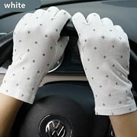 Women's Summer Driving Gloves Dots Sun Uv Protection Outdoor 100% Cotton