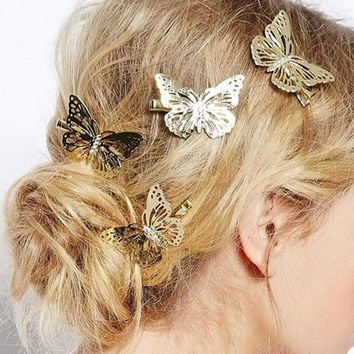 12Pcs Shiny Golden Metal Hair Clips Pins Grips Hollow Out Bow Barrette Hairclips Hairpins Clamps Girls Headwear For Hair Makeup