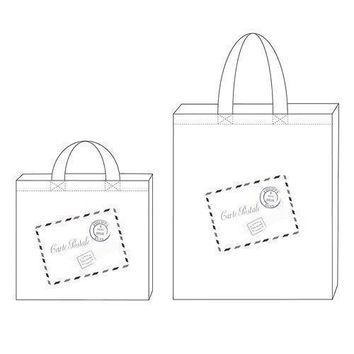 French Post Card Personalized Tote Bag Mini Tote with Gussets (Pack of 1)
