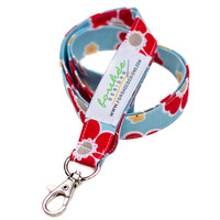 Fabric Lanyard ID Badge Holder with Breakaway Lanyard Option -- Aqua and Red Flowers --Ready To Ship