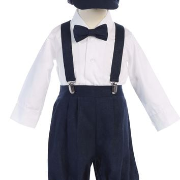 Boys Navy Blue Linen Blend Suspender Knicker Shorts Set 3m-5
