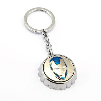 JM 12Pcs/lot X-Man Captain America Batman Star Wars Iron Man Superman Symble Keychain Bottle Cap Opener Model Alloy Key Ring