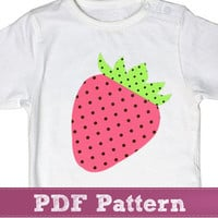 Strawberry applique temlate PDF - fruit pink children sewing pattern