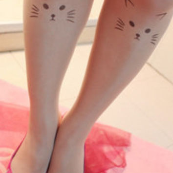 Kitty Face Tattoo Tights