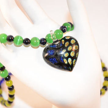 Blue Green Heart Necklace. Lamp Glass. Cat's Eye. Blue Goldstone. Semiprecious Stones. Heart. Hearts. Necklace. Crystal. Love. Jewelry.