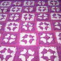 Handmade crochet blanket -  Chunky yarn fushia and pale pink     I D 807 ( 106)  (C)