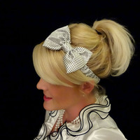 Retro white and black polka dot silk bow stretch headband pinup/feminine