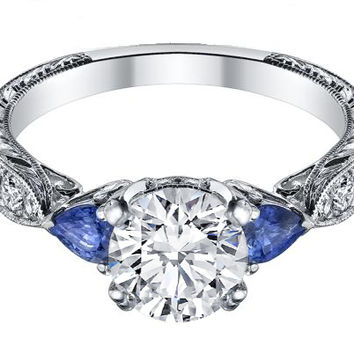 Engagement Ring - Diamond Engagement Ring Blue Sapphire Pear side stones Hand engraved White Gold band - ES1103