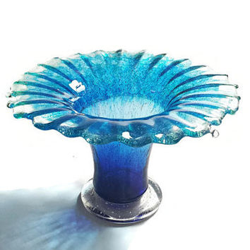 "Artisan Glass Footed Vase in Blue Ombre Ocean Splash: One-of-a-kind Art Glass Vase (4.5"") - Ocean Splash Series"