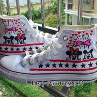 Disney mickey shoes, hand-painted shoes, Mickey Mouse shoes, custom converse shoes, Bi