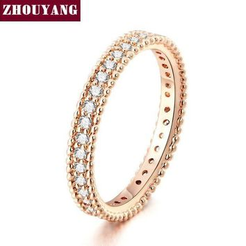 CREYCI7 Rose Gold Color Simple Classic Wedding & Engagement Ring Jewelry Made With Cubic Zirconia For Women ZYR490