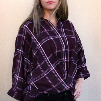 Louise Button Down Top - Burgundy by Velvet Heart
