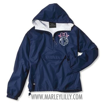 *LIMITED EDITION* Monogrammed Navy Bow Pullover Rain Jacket