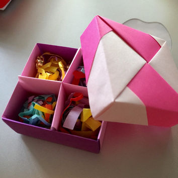 Tiny flower Crystal Earrings in Modular origami box