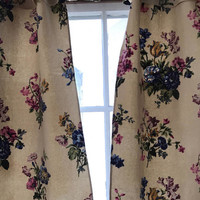 Vintage Barkcloth Curtains Bark Cloth Fabric Panels Floral on Tan One Pair with Ruffles plus One Long Panel Repurpose Pillows Home Decor
