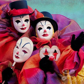 "Extra Large Art Print ""Clown Duo"" 13""x19"" - Venetian Carnival Photography"