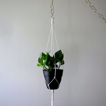 """Macrame Plant Hanger - 30"""" Simple - Natural White Cotton Rope - Indoor Hanging Planter - MADE TO ORDER"""