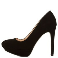Black Almond Toe Platform Pumps by Charlotte Russe