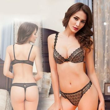 Transparent Lace Sexy Bra Set Daisy Flower Crochet Thin Lined Underwear Women Applique Bra Thong Sets Ladies Lingerie France HOT