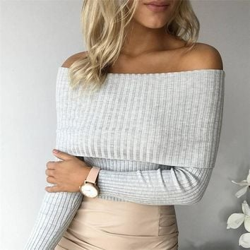 Off Shoulder Knitted Sweater Women Winter Slim Oversized Sweaters And Pullovers Pink Jumper Pull Femme A16223
