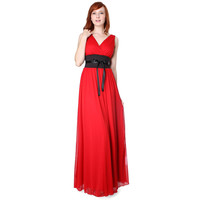 Evanese Chiffon Matte Jersey Long Formal Dress w/Satin Tapes