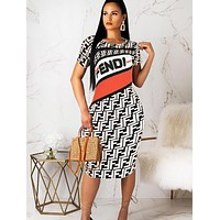 Fendi Fashion New Summer More Letter Print Shorts Sleeve Dress Women White