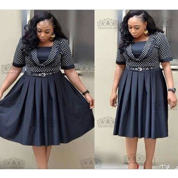 New Fashion African Dress With Belt Plus Size Big Elastic Short Sleeves
