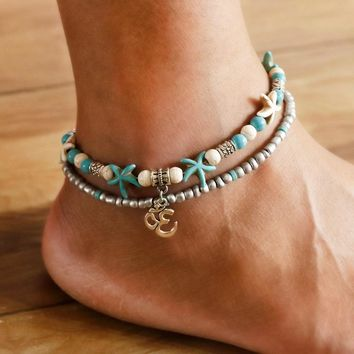 VIVILADY New Indian AUM OM Yoga Anklets Women Blue Stone Handmade Starfish Beach Summer Boho Party Foot Jewelry Accessory Gifts