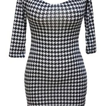 E3 Three Quarter Houndstooth Sheath Vestidos O-neck Off Teh Shoulder Women Dress Fashion Casual