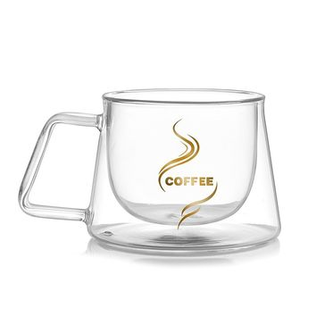 heat-resistant double layer glass coffee cup with handle creative glass mug 200ml