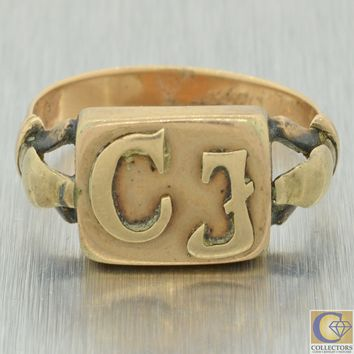 1850s Antique Victorian Mens 9ct Yellow Gold CJ Initials Signet Ring J8