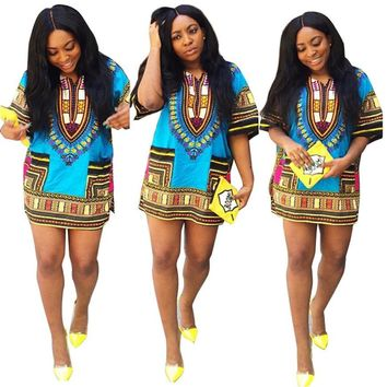 African Print   Dress Straight Print Above Knee Dresses