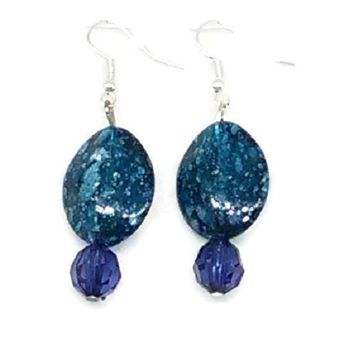 Blue with Gold Flecks and Faceted Rounds Beaded Earrings