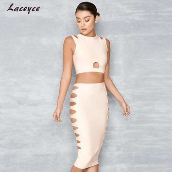 Laceyce 2018 New Fashion Two Pieces Set Women Summer Apricot Short Top&Bodycon Skirt Celebrity Runway Dress 2 pieces Bandage Set