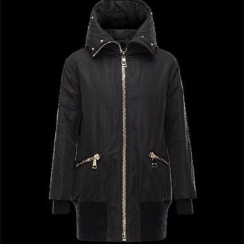 Moncler BASSIAS Bomber Detachable Turtleneck Fur Collar Black Coats Polyester/Beaver W