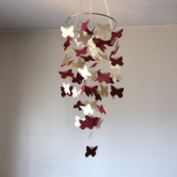 Butterfly paper mobile.  Burgundy and cream floating butterfly mobile // Nursery  Mobile // Modern crib mobile, custom mobile